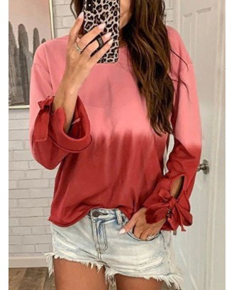 Gradient Casual Long Sleeve Sweatshirt For Women