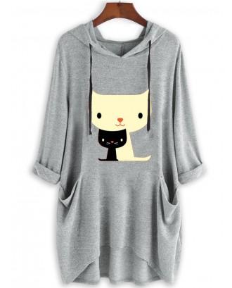 Casual Print Cat Pockets Long Sleeve Hoodies