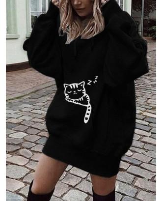 Cartoon Cat Printed Hooded Long Sweatshirt
