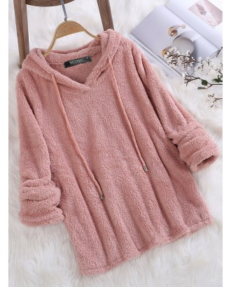 Fleece Hooded Solid Color Long Sleeve Sweatshirt