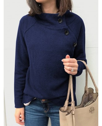 Side Button Solid Color Long Sleeve Sweatshirt For Women