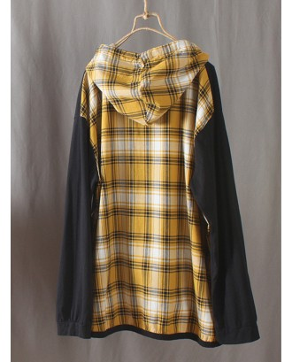 Embroidery Vintage Plaid Patch Long Sleeve Hoodies