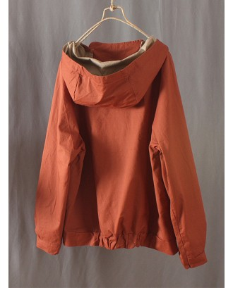 Hooded Solid Color Long Sleeve Pockets Hoodie For Women