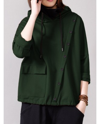 Casual Solid Color Side Button Pockets Hoodies For Women