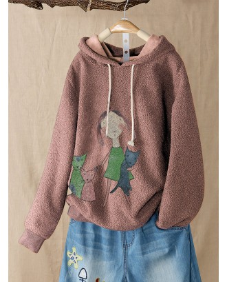 Cartoon Print Fleece Long Sleeve Hoodie For Women