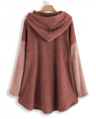 Patchwork Plush Solid Color Hoodie For Women
