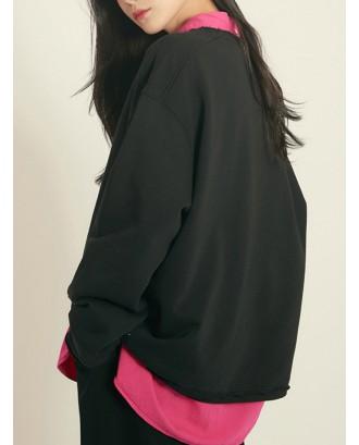 Casual Solid Color Crew Neck Long Sleeve Sweatshirt