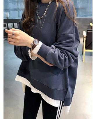 Fake Two Pieces Asymmetrical O-Neck Pullover Long Sleeve Sweatshirt