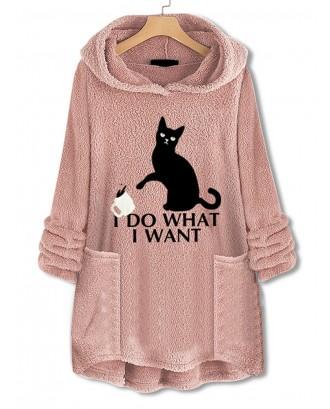 Casual Pockets Print Cat Fleece Hoodies