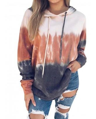 Gradient Printed Hooded Long Sleeve Sweatshirt