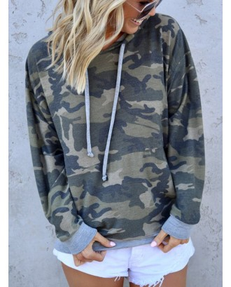 Camouflage Patchwork Long Sleeve Casual Hoodie For Women
