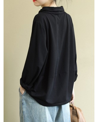 Casual Button Zipper Half Turtleneck Sweatshirt