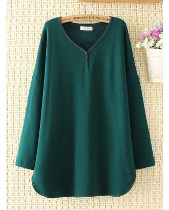 Solid Color Loose V-neck long sleeve Button Sweatshirt