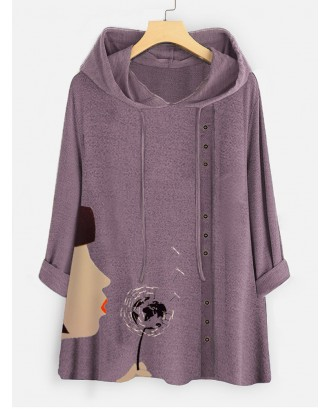 Cartoon Print Button Long Sleeve Hoodie For Women