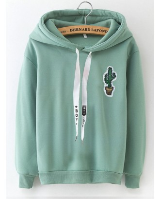 Cartoon Print Hooded Long Sleeve Sweatshirt