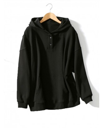 Solid Color Hooded Big Pocket Button Long Sleeve Loose Sweatshirt For Women