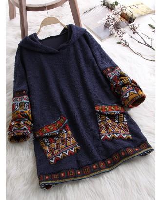 Fleece Pockets Ethnic Print Patchwork Long Sleeve Vintage Hoodie