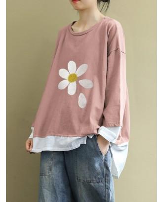 Casual Print Flower Overhead Long Sleeve Sweatshirt