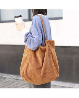 Corduroy Vintage Handbag Large-capacity Shopping Bag