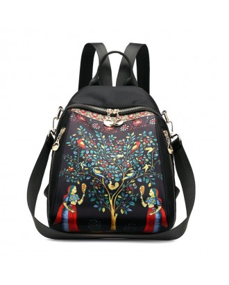 Waterproof Dual-use Elephant Print Multi-function Backpack Nylon Crossbody Bag For Women