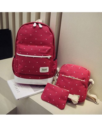 3PCS Canvas Backpack Set Casual Large Capacity School Bag