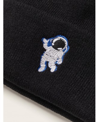 Astronaut Embroidery Cuffed Knit Beanie