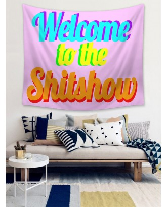 Colorful Slogan Graphic Tapestry