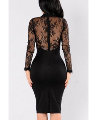 Black Floral Lace Long Sleeve Cutout Halter Beautiful Bodycon Dress