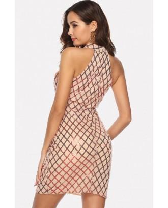 Apricot Sequin Halter Cutout Beautiful Bodycon Mini Dress