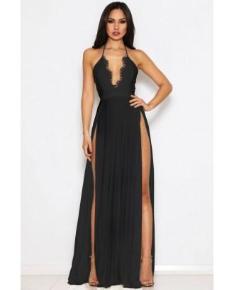 Black Lace Splicing Halter High Slit Beautiful Maxi Dress