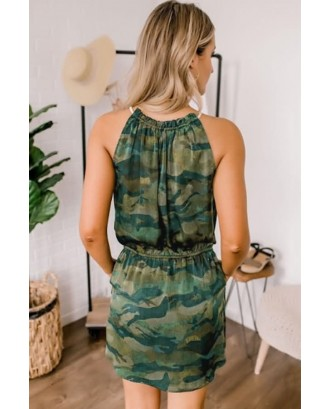 Army-green Camouflage Halter Pocket Sleeveless Casual Dress