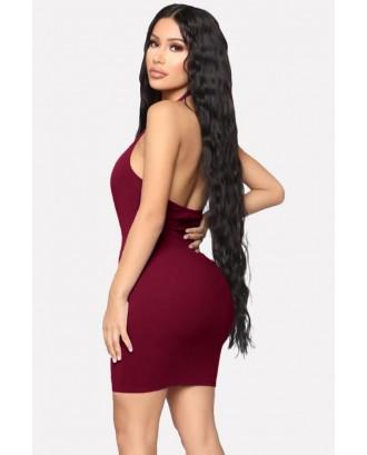 Dark-red O Ring Cutout Halter Backless Beautiful Bodycon Mini Dress