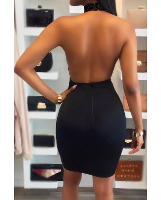 Black Halter Sequins Mesh Keyhole Backless Beautiful Bodycon Club Dress