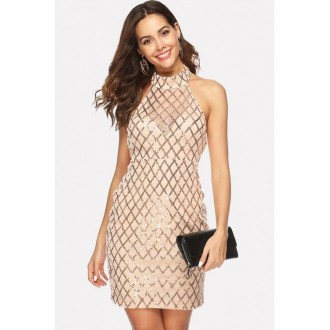 Apricot Sequin Mesh Splicing Halter Beautiful Bodycon Dress