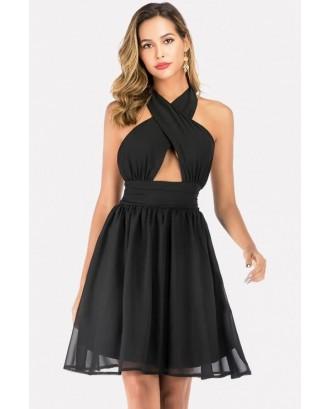Black Halter Cutout Backless Beautiful Chiffon Dress