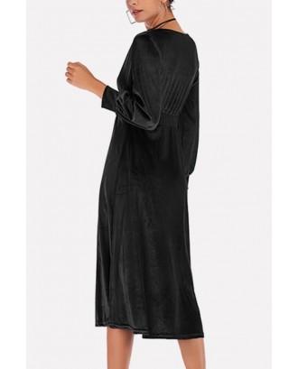 Black Velvet Long Sleeve V Neck Wrap Casual A Line Dress