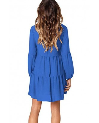 Blue Long Puff Sleeve V Neck Tiered Casual A Line Dress