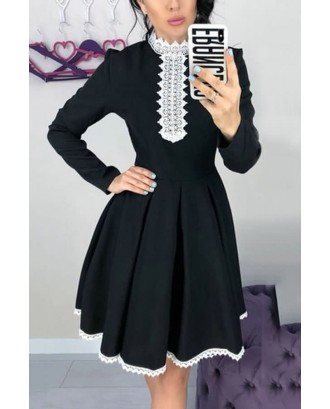 Black Two Tone Lace Crochet Pleated Long Sleeve Casual A Line Dress