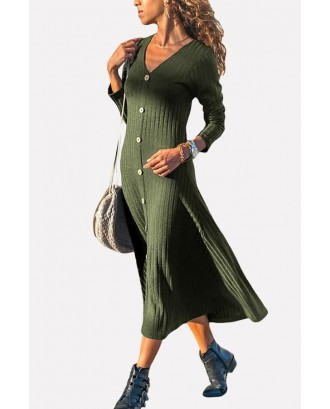 Army-green V Neck Button Up Long Sleeve Casual Maxi Sweater Dress
