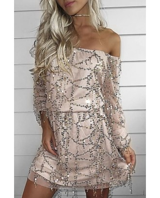 Apricot Off Shoulder Long Sleeve Mesh Sexy Sequin Dress