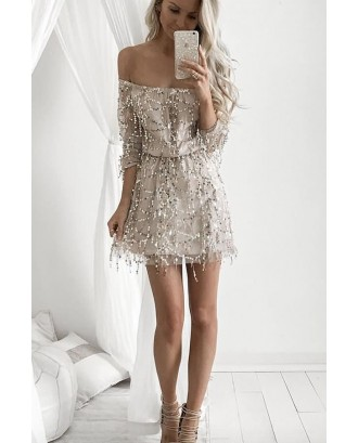 Apricot Off Shoulder Long Sleeve Mesh Beautiful Sequin Dress