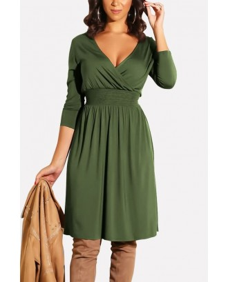 Army-green V Neck Wrap Shirred Long Sleeve Casual A Line Dress