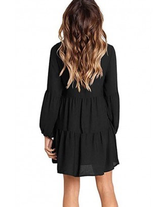 Black Long Puff Sleeve V Neck Tiered Casual A Line Dress
