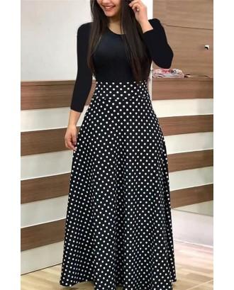 Black Polka Dot Print Long Sleeve Splicing Sexy Maxi A Line Dress