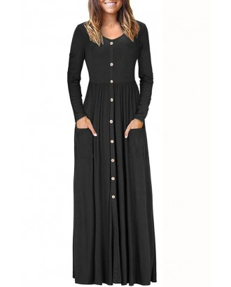 Black V Neck Button Up Long Sleeve Pocket Casual Maxi Dress