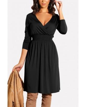 Black V Neck Wrap Shirred Long Sleeve Casual A Line Dress