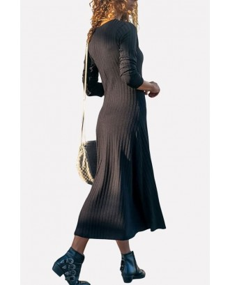 Black V Neck Button Up Long Sleeve Casual Maxi Sweater Dress