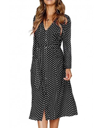 Black Polka Dot Button Up Tied Long Sleeve Casual A Line Dress