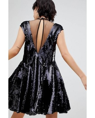 Black Sequin Illusion Neck Sleeveless Sexy Dress