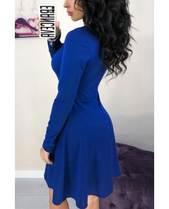 Blue Contrast V Neck Long Sleeve Casual A Line Dress